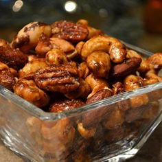 """Sweet, Salty, Spicy Party Nuts Recipe - \""""I find this technique much easier than the stovetop pan method. You'll get beautiful, perfectly frosted nuts that are roasted evenly, with no bitter burned spots. Nut Recipes, Snack Recipes, Cooking Recipes, Dishes Recipes, Party Recipes, Delicious Recipes, Party Nuts Recipe, Nut Mix Recipe, Snacks"""