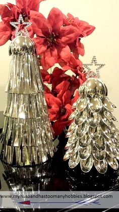DIY Christmas Tree Cones made with dollar store supplies | I love this because it utilizes every part of the spoon
