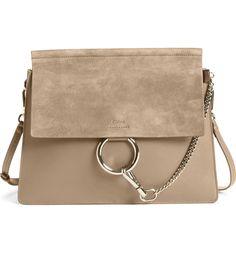 Main Image - Chloé Faye Suede & Leather Shoulder Bag