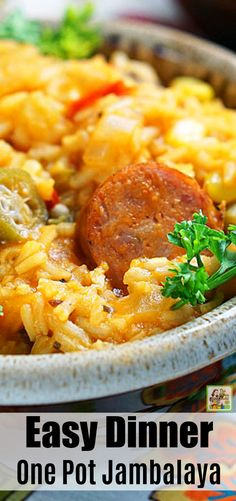 This One Pot Jambalaya recipe is an easy dinner your family will love. Made with spicy andouille sausage, rice, frozen gumbo vegetable mix, and white wine. Filling and tasty! One Pot Jambalaya Recipe, Sausage Jambalaya, Grilling Recipes, Slow Cooker Recipes, Easy Dinner Recipes, Breakfast Recipes, Dinner Ideas, Dinner Entrees, Gumbo