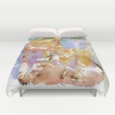 Maine Coon Cat And Kitten Watercolour Grunge Duvet Cover by Moonlake Designs - $99.00