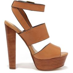 Steve Madden Dezzzy Tan Leather Platform High Heels ($109) ❤ liked on Polyvore featuring shoes, sandals, heels, chaussures, sapatos, leather platform sandals, block heel sandals, steve madden sandals, strappy platform sandals and leather sandals