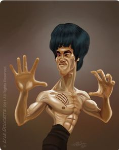 Bruce Lee [by LyleDoucette] Cartoon Faces, Funny Faces, Cartoon Art, Cartoon Characters, Bruce Lee Art, Bruce Lee Martial Arts, Caricature Artist, Caricature Drawing, Funny Caricatures