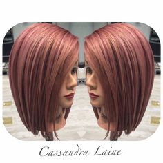 Amongst all the shades of pink hair color, the rose gold hair has become one of the most compelling trends hitting the social media. Love Hair, Great Hair, Gorgeous Hair, Hair Color And Cut, Haircut And Color, Cabelo Rose Gold, Hair Colorful, Coiffure Hair, Corte Y Color