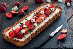 Strawberry Basil Panna Cotta Tart :: Home Cooking Adventure