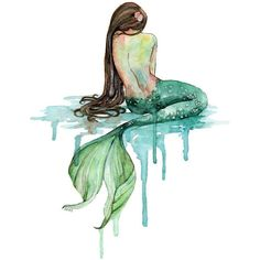 "Watercolor Mermaid Painting Print titled, ""The Mermaid Mermaid Art,... (€10) ❤ liked on Polyvore featuring home, home decor, wall art, watercolour painting, ocean home decor, ocean paintings, watercolor painting and sea wall art"