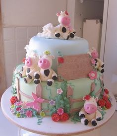 {Fantasy Farm Cake}  Sculpted Cows in a whimsical farm setting, perfect for a little girl!    Cakes we Love: www.artisanbakeshop.com