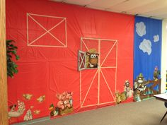 Western Theme VBS-Barn Scene in my classroom. Made from those cheap plastic tablecloths at Wal-Mart.