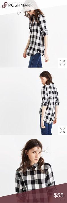 NEW • Madewell • Slim Ex-Boyfriend Shirt Check L - Madewell - Slim Ex-Boyfriend Button Down Shirt - Buffalo Check  - Black / White - Large - New with Tags Madewell Tops Button Down Shirts