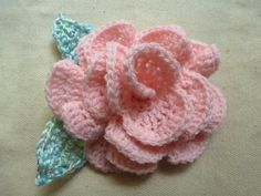 Pink Crochet Rose Barrette