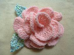 Pink Crochet Rose Barrette