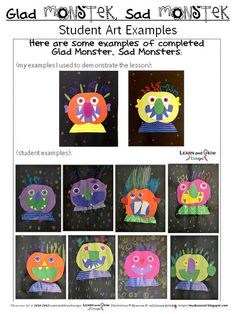 Glad Monster Sad Monster Art Lesson for Kids with by LearnandGrow