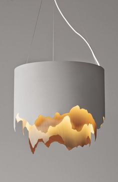I really like the design of this lamp, because it makes the lamp intricate. It's a really simple pattern but it looks way more cooler than a simple plain white lamp. Modern Lighting Design, Unique Lighting, Interior Lighting, Home Lighting, Lighting Ideas, Pendant Lighting, Pendant Lamps, Unique Lamps, Design Light