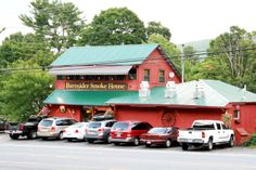 Dine at the Barnsider! A popular restaurant in Lake George, NY, the Barnsider Smokehouse BBQ serves up some of the best barbecue north of Memphis! Lake George Restaurants, Smokehouse Bbq, View Photos, Barbecue, Indoor, Cabin, Dining, House Styles, Cooking