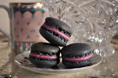 Liquorice and Raspberry Chambord Macarons