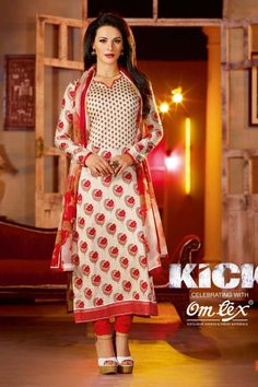 Presenting #Kick Movie collection with zohraa.com Cream and Red Faux Georgette #Salwaar #Kameez with Printed and Lace Work  Order Now@ http://zohraa.com/cream-faux-georgette-suit-omtexkick2.html  Rs. 2,949.