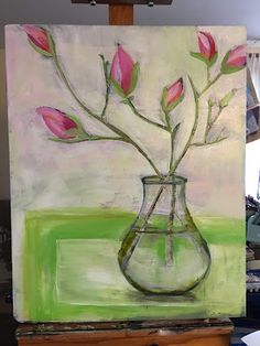 awaiting spring doesn& look like much but. Glass Vase, Floral Paintings, Abstract, Spring, Art Ideas, Home Decor, Summary, Decoration Home, Room Decor