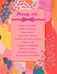 Make her day with this faith-filled card featuring encouraging Mother's Day wishes and satin ribbon, foil lettering and glitter accents. Includes Bible verse from I Thessalonians No Mother's Day gift is complete without a Hallmark card! Happy Mothers Day Letter, Mothers Day Cards, The Joys Of Motherhood, Cherish Every Moment, Godchild, Hallmark Cards, Prayer Warrior, Day Wishes, Writing Styles