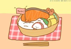 Sanrio Characters, Fictional Characters, Chibi Food, Salmon Fillets, Cute Chibi, Pikachu, Hello Kitty, Best Friends, Family Guy