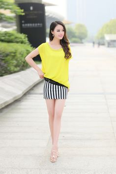 Summer dress, Chiffon Dress, stripe dress, Black and White Stripe, stripe Skirt, YRB dress, 0314, Asian Chiffon, Korean Dress