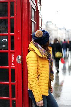 Blame-it-on-Mei-Fashion-Travel-Blogger-London-England-UK-Piccadilly-Circus-Winter-Mustard-Yellow-Down-Coat-Jacket-Plaid-Blanket-Scarf-Blue-Pom-Pom-Beanie-Gucci-Soho-Crossbody