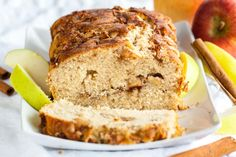 Apple Cinnamon Bread is quick and easy to make from scratch and makes your house smell amazing! Swirled with delicious spiced apples and topped with cinnamon sugar, this quick bread recipe is sure to be a fall favorite. Apple Cake Recipes, Quick Bread Recipes, Baking Recipes, Dessert Recipes, Apple Cakes, Pear Recipes, Apple Desserts, Apple Cinnamon Bread, Cinnamon Apples