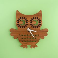 Bamboo Owl Wall Clock: Woodland Forest Animal Nature Nursery Wooden Owl Decor for Baby, Boy, Girl, Kids, Children Owl Clock, Modern Nursery Decor, Nursery Design, Natural Nursery, Wood Owls, Baby Animal Nursery, Clock For Kids, Bamboo Wall, Wood Animal