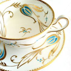 Antique Royal Chelsea Fine Bone China/Hand Painted Tea Cup and Saucer/Made in England - Ca. 1943 - 1966