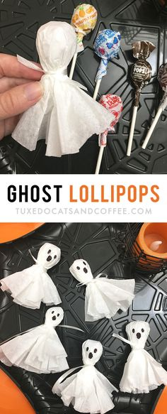 Easy Halloween Party Snacks These Halloween ghost lollipops are a cute and simple way to dress up Halloween candy for trick-or-treaters or for a Halloween party. They'd be a cute decoration on a Halloween table for your party or as a party favor. Halloween Party Snacks, Halloween Tags, Entree Halloween, Table Halloween, Halloween Appetizers, Snacks Für Party, Halloween Ghosts, Easy Halloween Decorations Diy, Women Halloween