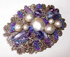 Miriam Haskell Brooch Pin Purple Blue Crystal Beads & Faux Pearls Filigree…