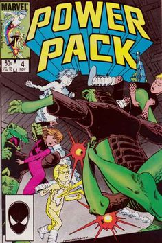 Power Pack #4 / Power Pack is a fictional team of comic book superheroes consisting of four young siblings who appear in books published by Marvel Comics. They were created by writer Louise Simonson and artist June Brigman and first appeared in their own series in 1984. The series lasted 62 issues.