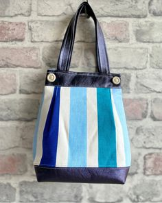 Eco Friendly Fashion, Sustainable Fabrics, Fabric Covered, Refashion, Tote Handbags, Blue Stripes, Cotton Canvas, Totes, Reusable Tote Bags