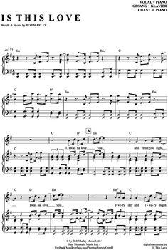 >>> KLICK auf die Noten um Reinzuhören <<< Is this love (Klavier + Gesang) von Bob Marley für Noten und Playback zum Download für verschiedene Instrumente bei notendownload Blockflöte, Querflöte, Gesang, Keyboard, Klavier, Klarinette, Saxophon, Trompete, Posaune, Violine, Violoncello, E-Bass, und andere ...