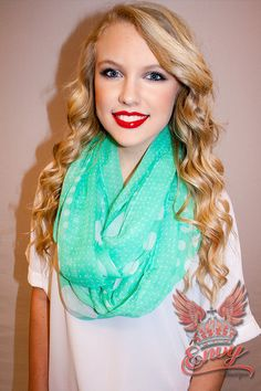 Dot Crazy Scarf In Mint - Who says scarves aren't for spring? With this boldly and richly colored mint scarf you can make a casual and relaxed statement. Lightweight and comfortable it is perfect for pairing with a tank or tee this spring.  - available online at http://www.envyboutique.us/shop/dot-crazy-scarf/ #Envy #Boutique #chic #fashion #fashiontrends #MintInfinityScarf, #PrintdMintScarf