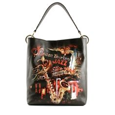 ''New Orleans Jazz'' Large Hobo w/Studded Shoulder Strap by Diane Millsap Jazz, Icon Shoes, Hobo Bag, New Orleans, Leather Handbags, Shoulder Strap, Fashion, Moda, Leather Totes