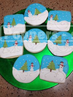 #Christmas #Cookies Decorated w/outside scene of #Snowman and Christmas Tree