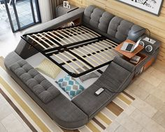 buy Massage bed tatami bed fabric bed double bed storage bed m bed modern minimalist bedroom at taobao agent Fabric bed Multifunctional Furniture, Smart Furniture, Space Saving Furniture, Bedroom Furniture, Furniture Ideas, Furniture Design, Bedroom Bed Design, Modern Bedroom, Master Bedroom