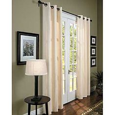 Grommet Top Insulated Curtains and French Doors Replace Vertical Blinds, French Door Coverings, Window Coverings, Beach Curtains, Sheer Curtains, Black Curtain Rods, French Door Curtains, French Doors, Sliding Patio Doors