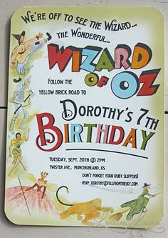 via etsy.com LoraleeLewis Wizard of Oz Invitation 20 Printed Invites for $34.00