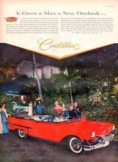 1957 Cadillac convertible print ad Red car at the Surf by Vividiom, $8.00