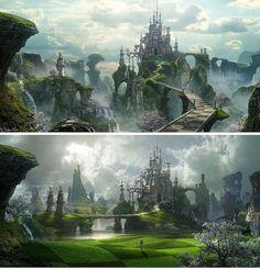 47 Ideas Dark Fantasy Landscape Dreams Concept Art For 2019 Fantasy City, Fantasy Castle, World Of Fantasy, Fantasy Places, Dark Fantasy, Environment Concept Art, Environment Design, Fantasy Landscape, Landscape Art