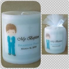 Personalized boy baptism candle favors by SassyCandleFavors