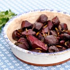 Roasted Beets with Garlic Scapes and Oregano