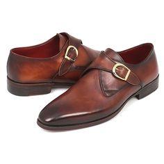 Paul Parkman Handmade Shoes Men's Monkstrap Dress Shoes Brown & Camel (Made to Order & Handpainted)