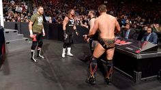 Sami Zayn, Dolph Ziggler and The Miz confront Owens at ringside for not scheduling them in the match.