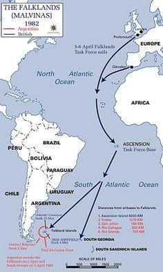 Falklands War timeline map