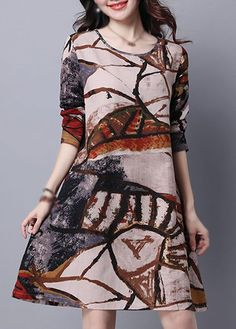 Graffiti Print Long Sleeve Swing Tunic Dress