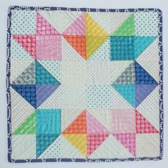 Quilt Story: My Bright Colorful Rainbow Polka-dot HST mini quilt...