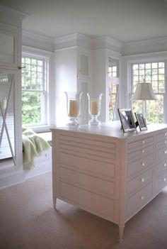 Designate A Dressing Room. Creamy white built-ins and a cozy window seat nook. Interior Designer & Architect: Donald Lococo.