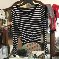 Black + White Long Sleeved Sweater Express, Diamond Buttoned Black + White Stripped Sweater Express Tops Sweatshirts & Hoodies